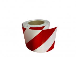 Reflexní páska 3M 13057 červená-bílá, pravá DIN 4844, šíře 100 mm, cena za 1 metr