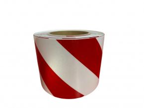 Reflexní páska 3M 13057 červená-bílá, levá DIN 4844, šíře 100 mm, cena za 1 metr